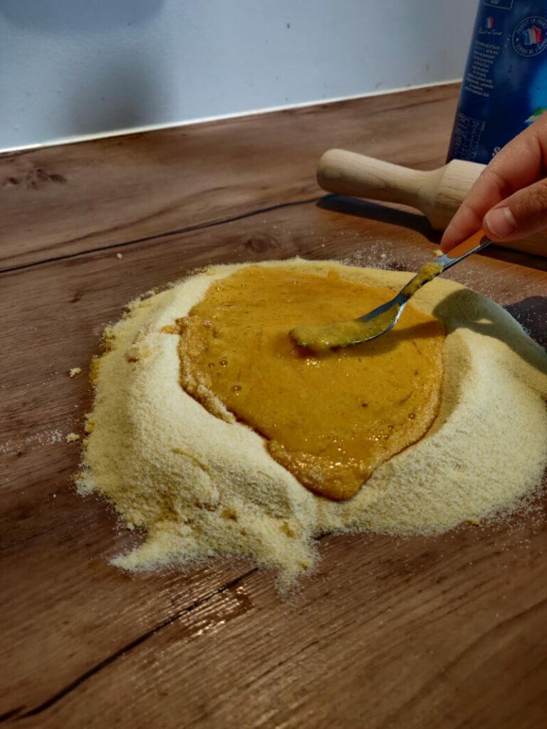 mélange farine de blé dur oeufs pour pâtes fraîches